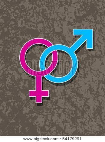 Male And Female Gender Symbol Interlocking