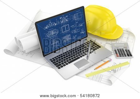 Designing Of Project. Draws And Laptop