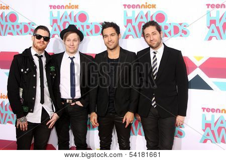 LOS ANGELES - NOV 17:  Fall Out Boy Group, Andy Hurley, Patrick Stump, Pete Wentz, Joe Trohman at the TeenNick Halo Awards at Hollywood Palladium on November 17, 2013 in Los Angeles, CA