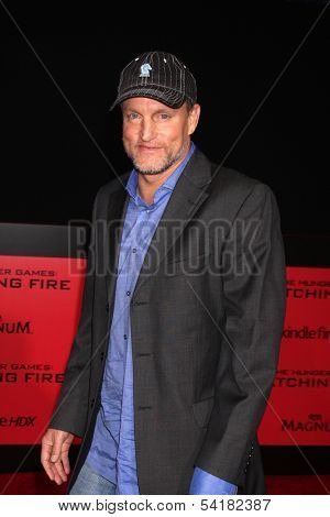 LOS ANGELES - NOV 18:  Woody Harrelson at the The Hunger Games:  Catching Fire Premiere at Nokia Theater on November 18, 2013 in Los Angeles, CA