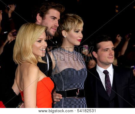 LOS ANGELES - NOV 18:  Elizabeth Banks, Liam Hemsworth, Jennifer Lawrence, Josh Hutcherson at the The Hunger Games:  Catching Fire Premiere at Nokia Theater on November 18, 2013 in Los Angeles, CA