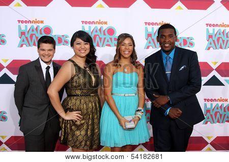 LOS ANGELES - NOV 17:  Zachary Kerr, Rocio Ortega, Miranda Fuentes, Denzel Thompson at the TeenNick Halo Awards at Hollywood Palladium on November 17, 2013 in Los Angeles, CA