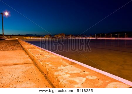 Beachside Swimming Pool At Dawn