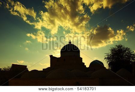 Ancient town of Itchan Kala at sunset. The city of Khiva, Uzbekistan
