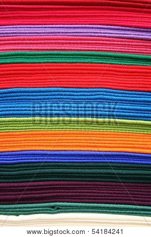 Stacked Colorful Blankets