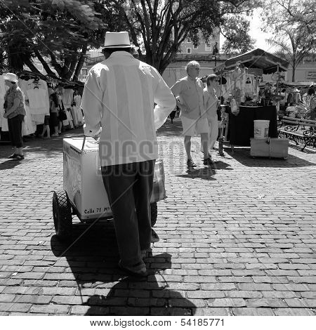 Merida, Mexico- February 17, 2008: An unidentified man sells snacks in a Yucatan street.