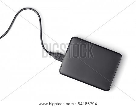 Top view of external hard disk isolated on white
