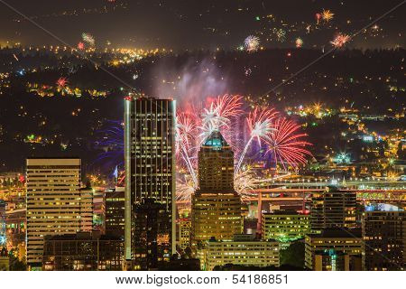 Portland Oregon, Usa Fireworks.