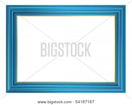 Blue picture frame. Computer generated 3D photo rendering.
