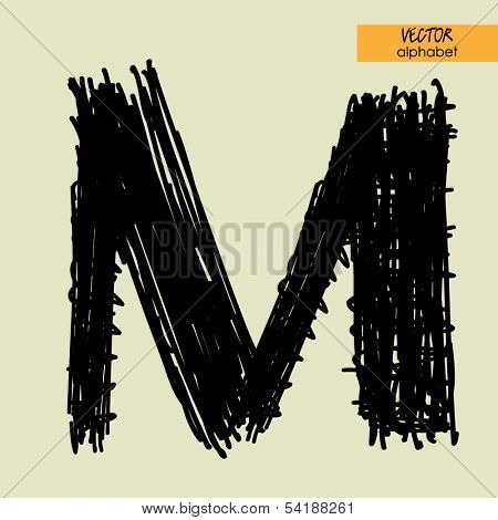 art sketched stylization alphabet in vector, black grungy ink font, sign M