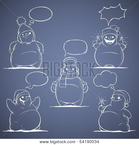 Set of five cartoon snowman. White on a blue background