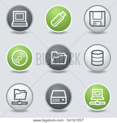 Drives and storage web icons, circle buttons