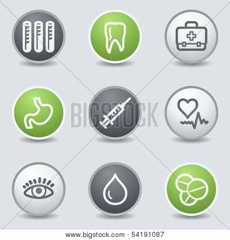 Medicine web icons set 1, circle buttons