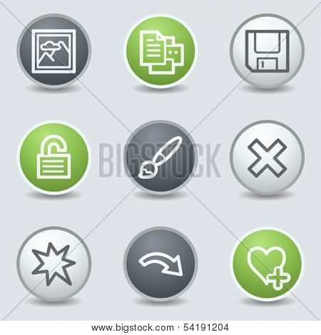 Image viewer web icons set 2, circle buttons