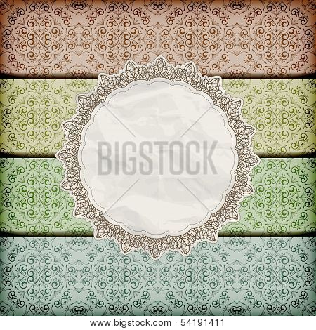 Vector Seamless Floral Borders Abd Napkin With Lace And  Crumpled   Paper Texture