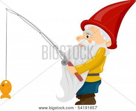 Illustration of a Gnome Holding a Fishing Rod with a Fish Dangling at the End