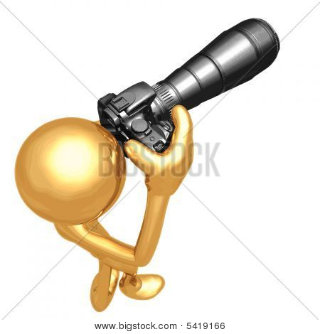 3D Vector Gold Guy Photographer