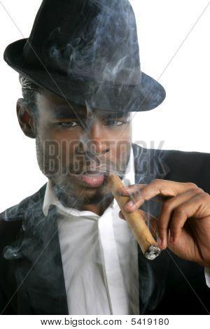 African American Man Smoking Cigar Portrait
