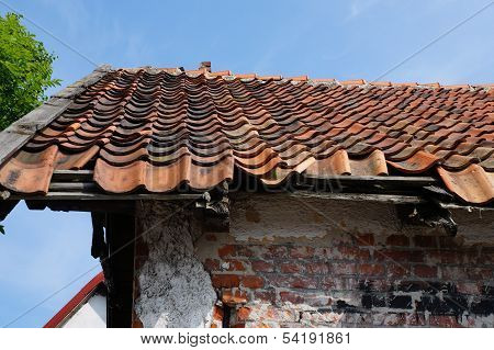 Tiled roof under the blue sky