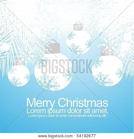 Elegant Christmas Balls and Snow Flakes Background