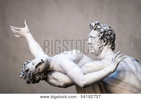 An image of the Rape of the Sabine Women in Florence Italy