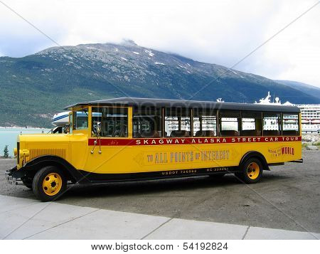 Skagway Alaska Street Car Tour bus at Skagway harbor in Alaska