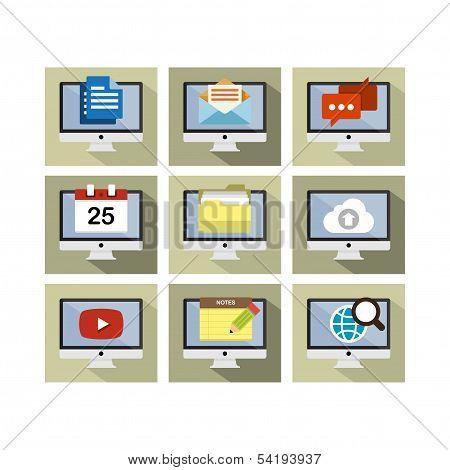Flat Icon Design Computer