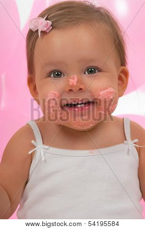 Baby after eating her cupcake