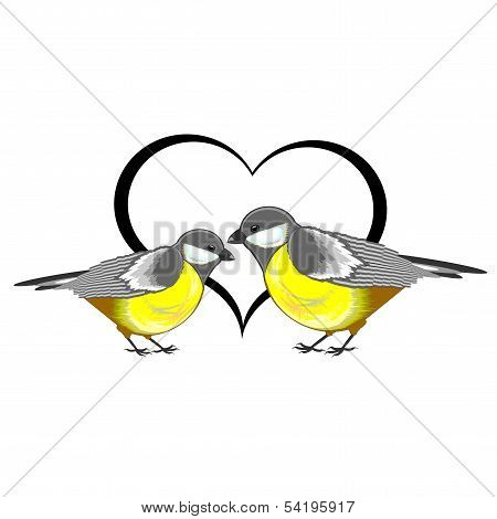 A Couple Of Birds (titmice) With A Heart