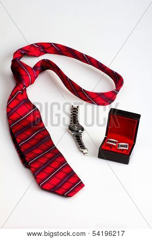 Gentleman's set: tie, watch and cuff links