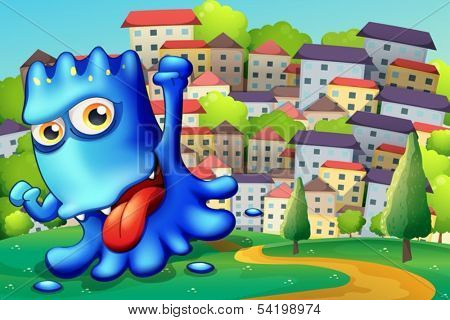 Illustration of a boastful blue monster above the hill across the buildings