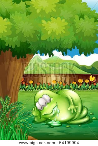 Illustration of a fat monster sleeping under the tree at the yard