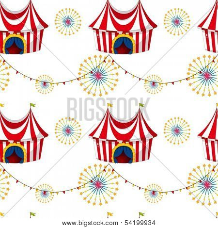 Illustration of a seamless template with tents on a white background