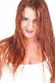 foto of wet t-shirt  - Sexy red hair woman in wet white t shirt - JPG