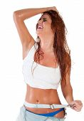 stock photo of wet t-shirt  - Sexy red hair woman in wet white t shirt - JPG