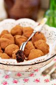 image of nibbling  - Chocolate Prune Truffles Coated with Cocoa - JPG