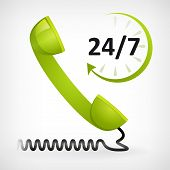 stock photo of helpdesk  - call us twenty four hours icon - JPG