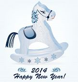 pic of rock carving  - Wooden blue rocking horse on a white background - JPG
