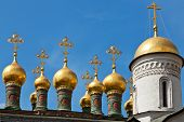 stock photo of cupola  - Cupolas of the Terem Palace Church Moscow Kremlin Russia - JPG