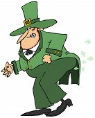 stock photo of farting  - This illustration depicts an Irish leprechaun straining to let a fart - JPG