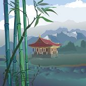 stock photo of taoism  - landscape with a pagoda bamboo and mountains on the banks of the river - JPG