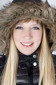 Young Woman In Furry Hood poster