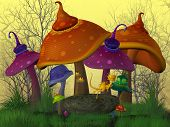 stock photo of magical-mushroom  - A fairytale land with funny colored mushrooms and golden dragons - JPG