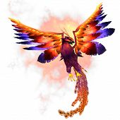 stock photo of egg-laying  - The Phoenix firebird is a mythical symbol of regeneration or renewal of life - JPG