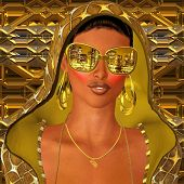 image of incognito  - A gold hoodie gives this sexy club girl the incognito look she wants along with her shades that reflect the city skyline - JPG