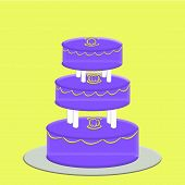 Purple 3 Tier Wedding Cake