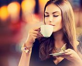 image of brunette  - Coffee - JPG