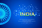 image of ashok  - easy to edit vector illustration of India Background with Ashok Chakkra - JPG