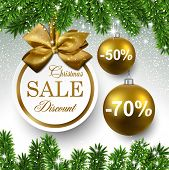 stock photo of fir  - Sale golden round labels - JPG