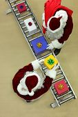 santa clauses working at conveyor belt in Christmas factory